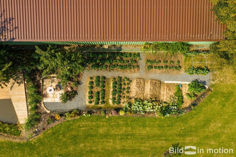 Drohne Garten Garten von oben